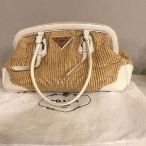 Prada woven leather frame white straw bag